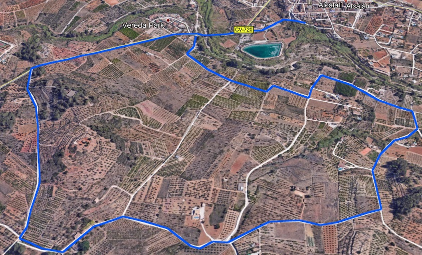 Mapa de la ruta, elaborado con Google Earth © M. J .Aguilar, 2018
