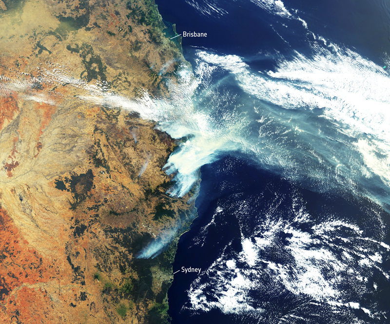 Satellite image of bushfire smoke over Eastern Australia December 2019