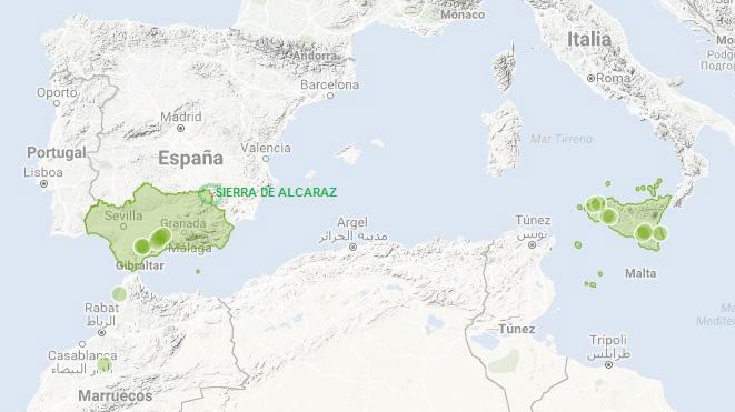 mapa de observaciones de iris platifornia