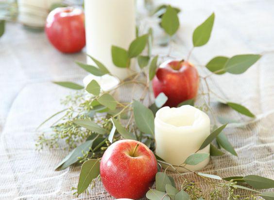 centro mesa manzana