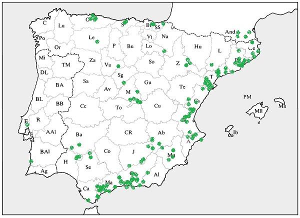 mapa Bupleurum fruticosum